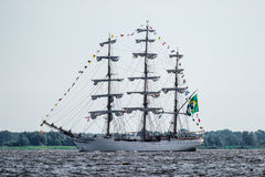 Trzebiez,波兰- 2017年8月08日-帆船Cisne Branco航行到充分的海在高船种族以后决赛2017年在Stett 图库摄影