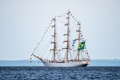 Trzebiez,波兰- 2017年8月08日-帆船Cisne Branco航行到充分的海在高船种族以后决赛2017年在Stett 库存图片