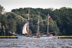 Trzebiez,波兰- 2017年8月08日-帆船Zawisza Czarny航行到充分的海在高船种族以后决赛在Ste的2017年 库存图片