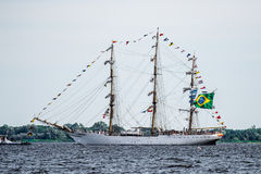 Trzebiez, Poland - August 08, 2017 - Sailing ship Cisne Branco sails to the full sea after final of Tall Ships Races 2017 in Stett Stock Image