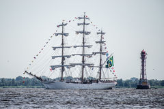 Trzebiez, Poland - August 08, 2017 - Sailing ship Cisne Branco sails to the full sea after final of Tall Ships Races 2017 in Stett Stock Photos