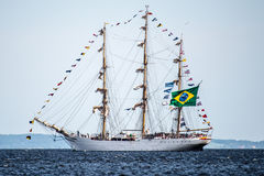 Trzebiez, Poland - August 08, 2017 - Sailing ship Cisne Branco sails to the full sea after final of Tall Ships Races 2017 in Stett Stock Photo