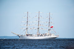 Trzebiez, Poland - August 08, 2017 - Sailing ship Dar Mlodziezy sails to the full sea after final of Tall Ships Races 2017 in Stet Stock Photo