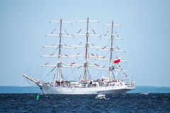 Trzebiez, Poland - August 08, 2017 - Sailing ship Dar Mlodziezy sails to the full sea after final of Tall Ships Races 2017 in Stet Stock Image