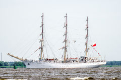 Trzebiez, Poland - August 08, 2017 - Sailing ship Dar Mlodziezy sails to the full sea after final of Tall Ships Races 2017 in Stet Royalty Free Stock Photos