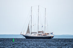 Trzebiez, Poland - August 08, 2017 - Sailing ship Eendracht sails to the full sea after final of Tall Ships Races 2017 in Stettin Royalty Free Stock Photos