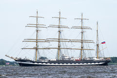 Trzebiez, Poland - August 08, 2017 - Sailing ship Kruzenstern sails to the full sea after final of Tall Ships Races 2017 in Stetti Royalty Free Stock Photo