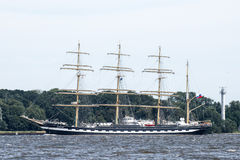 Trzebiez, Poland - August 08, 2017 - Sailing ship Kruzenstern sails to the full sea after final of Tall Ships Races 2017 in Stetti Royalty Free Stock Photos