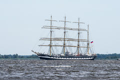 Trzebiez, Poland - August 08, 2017 - Sailing ship Kruzenstern sails to the full sea after final of Tall Ships Races 2017 in Stetti Royalty Free Stock Images