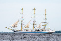Trzebiez, Poland - August 08, 2017 - Sailing ship Mir sails to the full sea after final of Tall Ships Races 2017 in Stettin on 05- Stock Photography