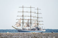 Trzebiez, Poland - August 08, 2017 - Sailing ship Mir sails to the full sea after final of Tall Ships Races 2017 in Stettin on 05- Stock Photo