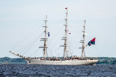 Trzebiez, Poland - August 08, 2017 - Sailing ship Sedov sails to the full sea after final of Tall Ships Races 2017 in Stettin on 0 Stock Photo