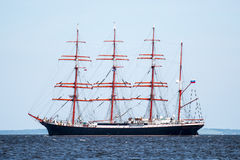 Trzebiez, Poland - August 08, 2017 - Sailing ship Sedov sails to the full sea after final of Tall Ships Races 2017 in Stettin on 0 Stock Images