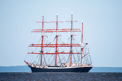 Trzebiez, Poland - August 08, 2017 - Sailing ship Sedov sails to the full sea after final of Tall Ships Races 2017 in Stettin on 0 Royalty Free Stock Photo