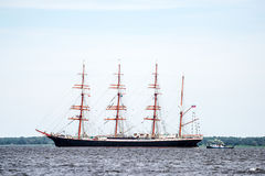 Trzebiez, Poland - August 08, 2017 - Sailing ship Sedov sails to the full sea after final of Tall Ships Races 2017 in Stettin on 0 Stock Photography
