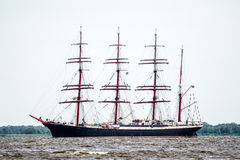 Trzebiez, Poland - August 08, 2017 - Sailing ship Sedov sails to the full sea after final of Tall Ships Races 2017 in Stettin on 0 Royalty Free Stock Photos
