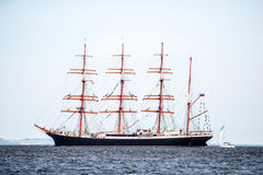 Trzebiez, Poland - August 08, 2017 - Sailing ship Sedov sails to the full sea after final of Tall Ships Races 2017 in Stettin on 0 Stock Image