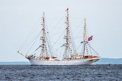 Trzebiez, Poland - August 08, 2017 - Sailing ship Statsraad Lehmkuhl sails to the full sea after final of Tall Ships Races 2017 in Royalty Free Stock Photo