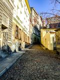 Trzech Braci street in Cieszyn in Poland. Narrow bricked street near old town in Polish part of the city. Photo taken during sunny autumn day. Three Brothers royalty free stock photography