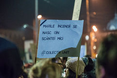 Trzeci dzień protest przeciw coruption i Rumuńskiemu rzędowi Obrazy Royalty Free