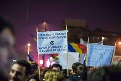Trzeci dzień protest przeciw coruption i Rumuńskiemu rzędowi Fotografia Stock