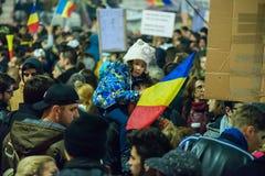 Trzeci dzień protest przeciw coruption i Rumuńskiemu rzędowi Zdjęcia Royalty Free