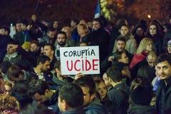 Trzeci dzień protest przeciw coruption i Rumuńskiemu rzędowi Zdjęcie Stock