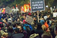 Trzeci dzień protest przeciw coruption i Rumuńskiemu rzędowi Obraz Stock