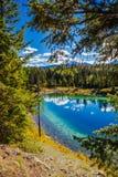 Trzeci jezioro, dolina 5 jezior, Jaspisowy park narodowy, Alberta Obrazy Royalty Free