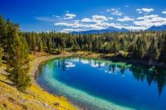 Trzeci jezioro, dolina 5 jezior, Jaspisowy park narodowy, Alberta Obraz Royalty Free