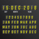 Trzepnięcie odliczanie zegaru wektor Czarny trzepnięcie tablicy wyników Digital kalendarz Rok, miesiące, dni Fotografia Royalty Free