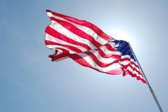 trzepot amerykańskiej flagi Obrazy Royalty Free