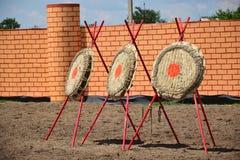 Trzy łuczniczego celu nasłonecznionego Fotografia Royalty Free