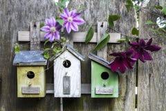 Trzy ślicznego małego birdhouses na drewnianym ogrodzeniu z kwiatami zdjęcie stock