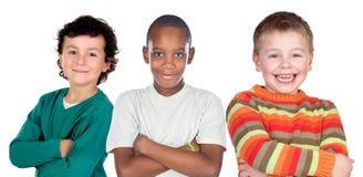 Trzy śmiesznego dziecka Zdjęcia Stock