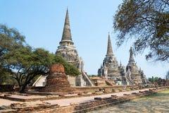 Trzy świątyni wata phra sri sanphet w Ayutthaya Zdjęcia Stock