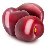 Trzy świeżej dojrzałej czerwonej wiśni Zdjęcia Stock