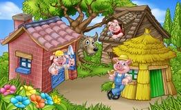 Trzy świni bajki Mała scena Zdjęcie Royalty Free