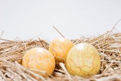 Trzy żółtego Wielkanocnego jajka w słomie Zdjęcia Royalty Free