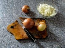 Trzy żarówki i znakomicie - siekać cebule w pucharu kłamstwie na szarość stole Zdjęcia Stock