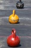 Trzy żelazny kettlebell Obrazy Royalty Free