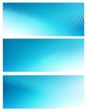 Trzy Abstrakcjonistycznego błękitnego kropka zawijasa tła szablonu Zdjęcie Royalty Free