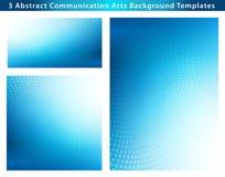 Trzy Abstrakcjonistycznego Błękitnego kropki fala tła szablonu Obrazy Stock