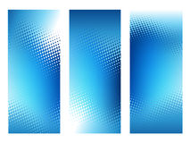Trzy Abstrakcjonistycznej błękitnej kropki tła pionowo szablonu Obraz Royalty Free