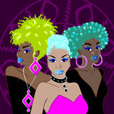 Trzy afro punkowej kobiety Fotografia Stock