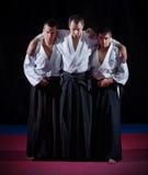 Trzy aikido wojownika Obrazy Royalty Free
