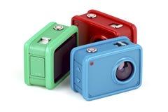 Trzy akci kamery na bielu Zdjęcia Royalty Free