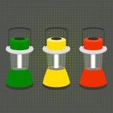Trzy ampuły desktop latarka w kolorach światła ruchu Fotografia Royalty Free