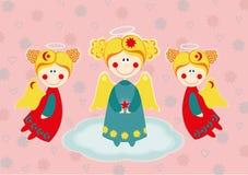 Trzy anioła na chmurze Fotografia Royalty Free