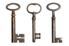 Trzy antycznego klucza Zdjęcie Royalty Free